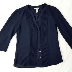 H&M Navy Sheer 3/4 Sleeve Blouse Sz 4
